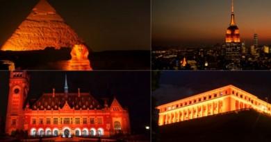 monumentos iluminados de laranja pela campanha pelo fim da violência às mulheres #orangetheworld