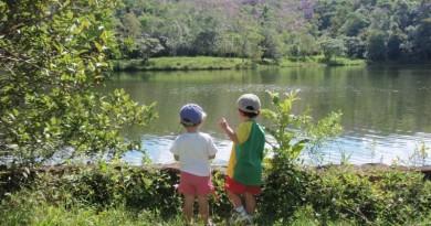 crianças vivendo a natureza com a família