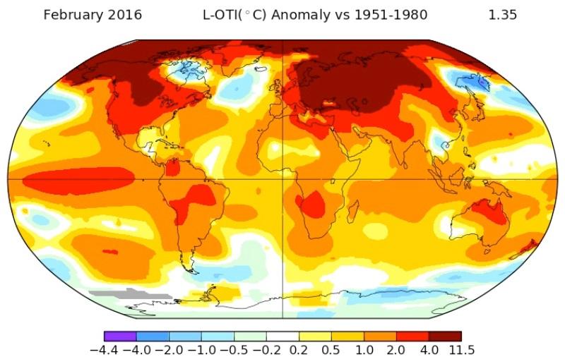 mapa da Nasa mostra calor em fevereiro de 2016