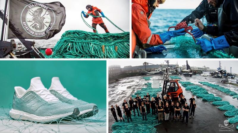 tênis Adidas feito com fios de fibras de plástico