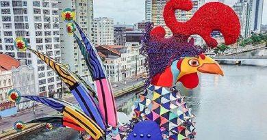 Galo da Madrugada, feito com material reciclável, desfila sua beleza no centro de Recife