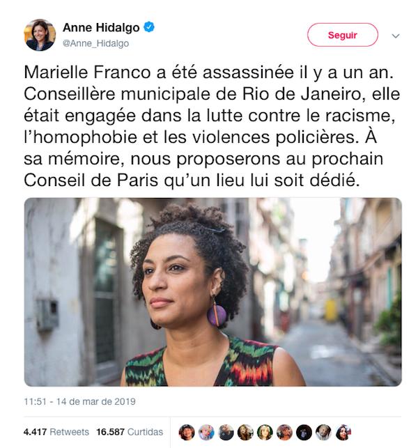 No dia em que completou um ano do assassinato de Marielle, Anne Hidalgo se manifestou pelo Twitter,