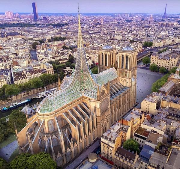 Notre-Dame ganha projeto de reconstrução com horta e geração de energia solar na telhado