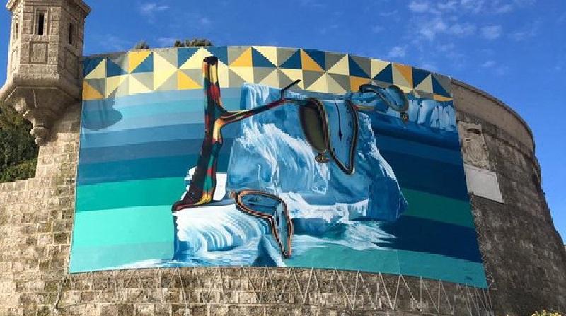 Em novo mural, Kobra faz releitura de obra de Salvador Dalí como alerta ao aquecimento global