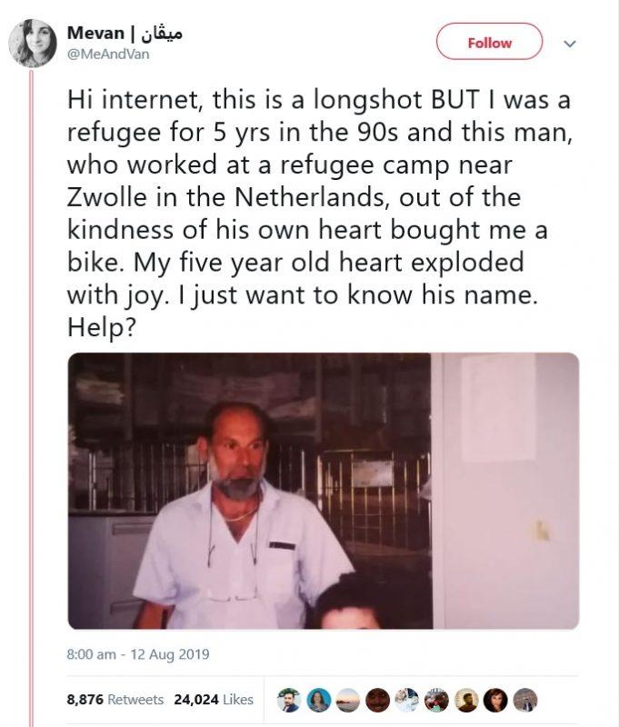 Com ajuda da internet, ex-refugiada reencontra homem que deu a ela uma bicicleta há 24 anos