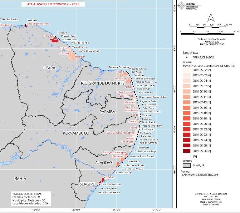 Mancha de óleo já atinge mais de 100 praias da região Nordeste