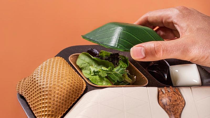 Pra reduzir geração de lixo, comida de avião pode vir em bandeja e embalagens biodegradáveis e... comestíveis!