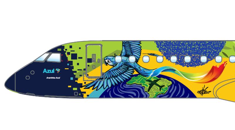 Avião com pintura especial celebra chegada, em breve, das ararinhas-azuis ao Brasil