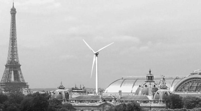 paisagem de paris com torre eiffel e turbina eólica ao lado para a cop21
