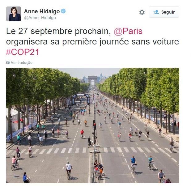 imagem do twitter da prefeita de Paris