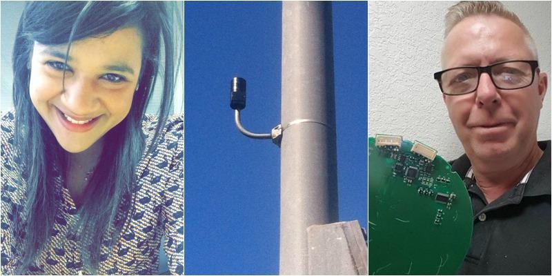 Desastres naturais: Thamara, John e sua invenção acoplada a um poste de iluminação pública