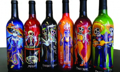 La Catrina brand had an artist paint the images to be repoduced with digital print on shrink sleeve labels