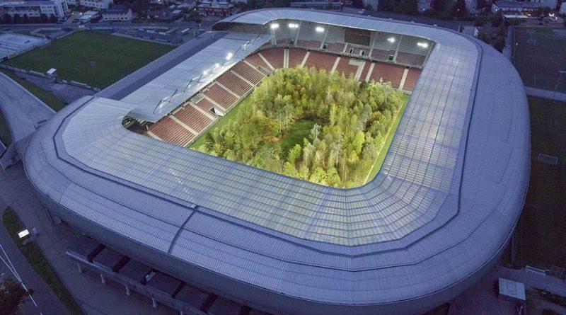 Instalação artística transforma estádio da Áustria em floresta como alerta sobre desmatamento e crise climática