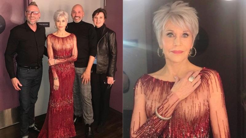 Pelo planeta, Jane Fonda usa vestido antigo na festa do Oscar para manter promessa de não comprar mais nenhuma roupa nova