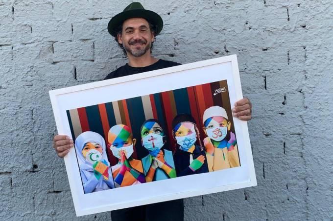 Eduardo Kobra cria nova obra e lança campanha para ajudar moradores de rua durante pandemia do coronavírus