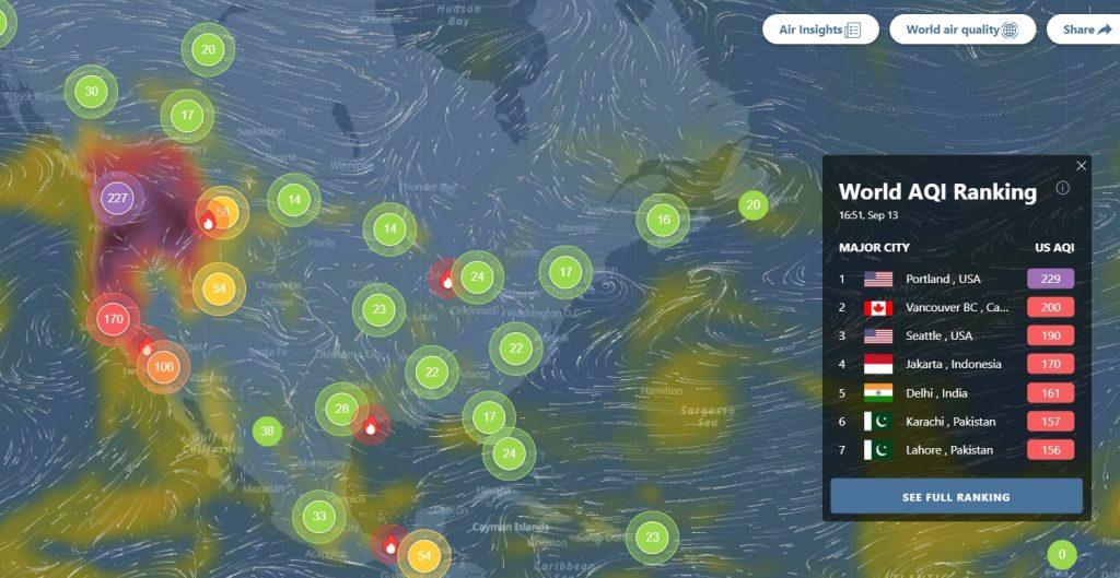 Incêndios na costa oeste dos Estados Unidos deixam cidades com a pior qualidade de ar do mundo