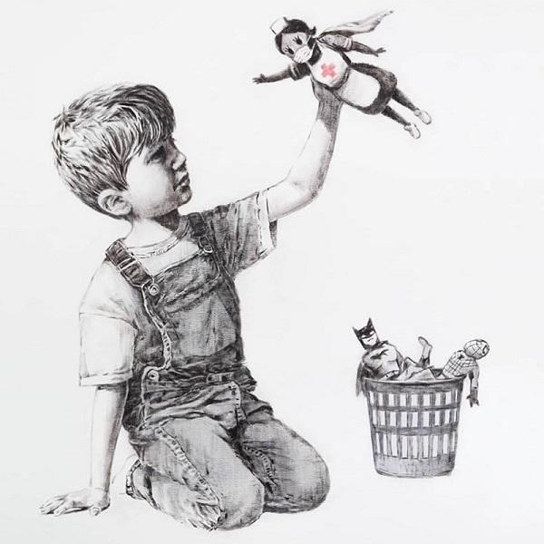 Em leilão, obra de Banksy arrecada quase R$ 130 milhões, dinheiro que será doado para entidades de caridade