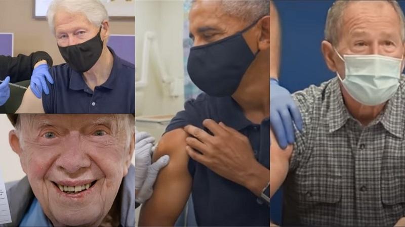 Ex-presidentes americanos, de diferentes partidos, se unem em campanha para estimular a vacinação contra a Covid