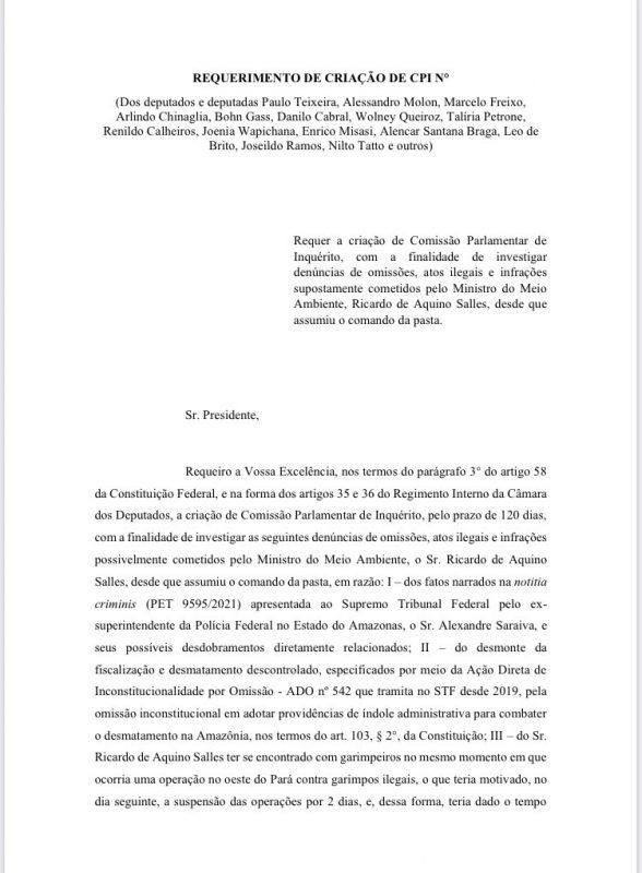 Deputados entram com pedido de CPI na Câmara para investigar ações de Ricardo Salles no Ministério do Meio Ambiente