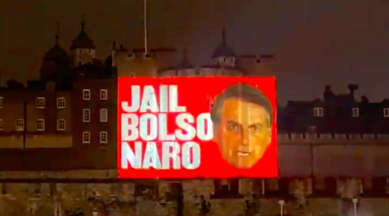 Projeções na Torre de Londres, Inglaterra, pedem prisão de Bolsonaro e seu julgamento na Corte de Haia por negligência na gestão da pandemia