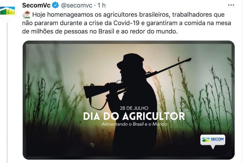 Governo federal usa imagem de homem armado para celebrar o Dia do Agricultor nas redes sociais